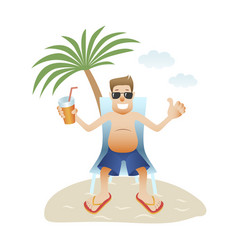 conceptual man banner on beach isolated flat vector image