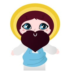 Cute Jesus Christ character isolated on white vector