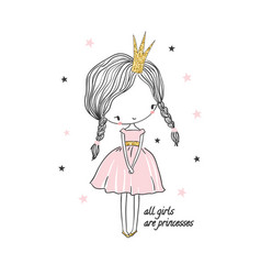 Cute little princess girl vector
