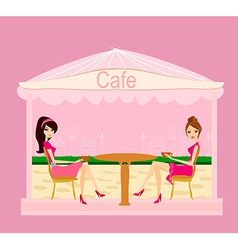 cute pretty girls in coffee break vector image