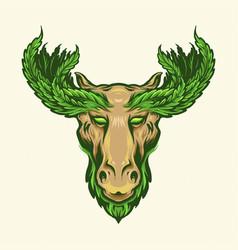deer with marijuana leaf antlers logo mascot vector image