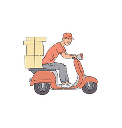 delivery man riding scooter with boxes vector image