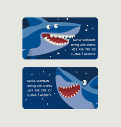 diving with sharks set business cards vector image