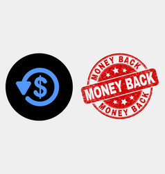 dollar refund icon and distress money back vector image