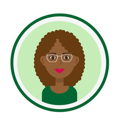 Female face with brown curly hair and glasses vector
