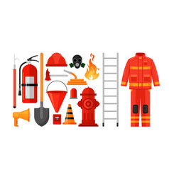 fireman equipment flat set vector image
