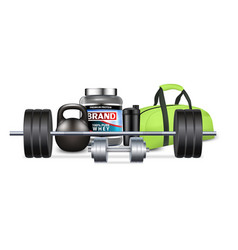fitness gym equipment and sport nutrition vector image