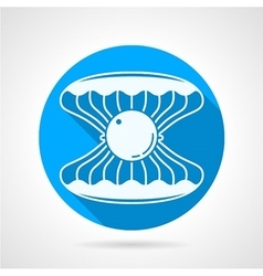 Flat round icon for pearl seashell vector image