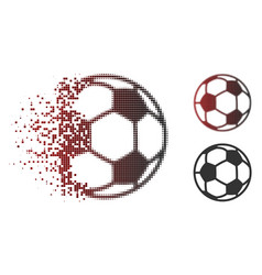fractured pixel halftone football ball icon vector image