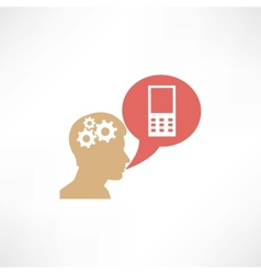 Gear head and cellphone icon vector image