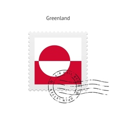 Greenland flag postage stamp vector