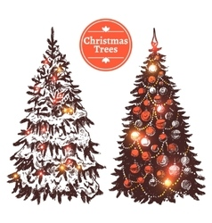 Hand Drawn Christmas Tree Set vector