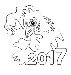 Hand drawn free style sketch of rooster vector image