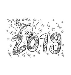 hand lettering with 2019 number of new year vector image