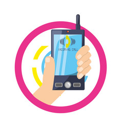 Hand with smarphone calling a person vector