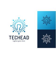 head tech logo pixel head logo concept robotic vector image