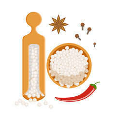 Himalaya salt in a wooden bowl and wooden shaker vector