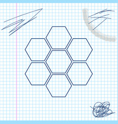 honeycomb sign line sketch icon isolated on white vector image