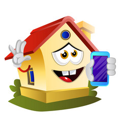 house is holding mobile phone on white background vector image