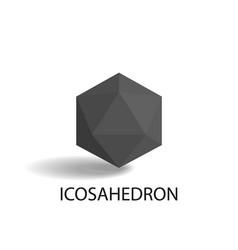 Icosahedron isolated black three-dimensional shape vector