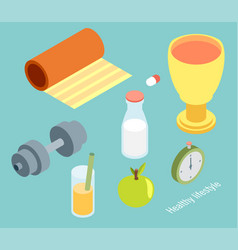 Isometric of icons for fitness and diet vector