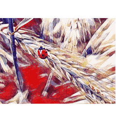 Ladybug on a wheat field vector