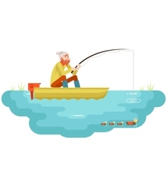 Lake fishing Adult Fisherman with Fishing Rod Boat vector