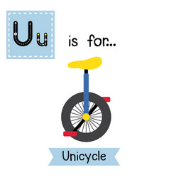Letter u tracing unicycle vector