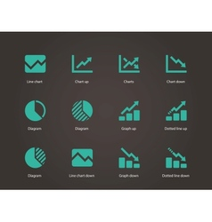 Line chart and Diagram icons vector image