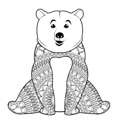 Mandala bear icon vector