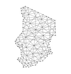 Map of chad from polygonal black lines and dots vector