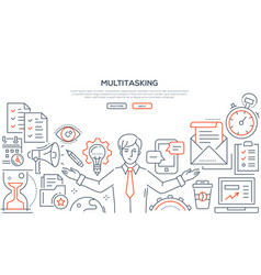 Multitasking - line design style vector