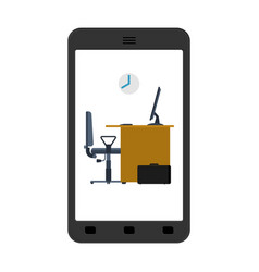 office in smartphone mobile workplace in phone vector image