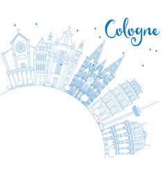 Outline cologne skyline with blue buildings and vector