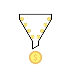 Outline sales funnel with rolling coins vector