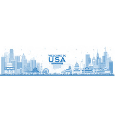 outline welcome to usa skyline with blue vector image