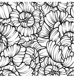 peony flower seamless pattern line drawing vector image
