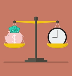 Piggy bank and Time balance on the scale vector