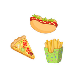 Pizza slice french fries hot dog set vector