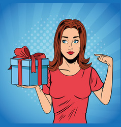 Pop art woman birthday giftbox cartoon vector