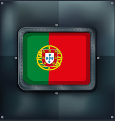 Portugal flag on metalic background vector