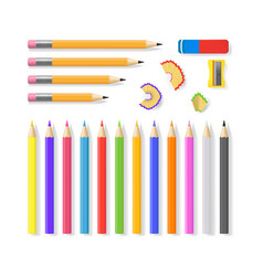 realistic detailed 3d sharpened pencils set vector image