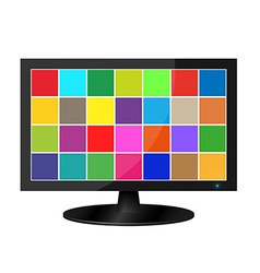 Realistic lcd monitor with colored squares vector image