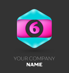 Realistic number six logo in colorful hexagonal vector