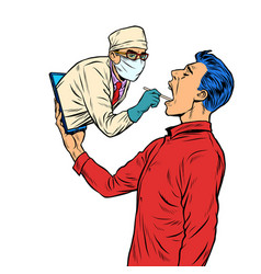 Remote work online help doctor takes a swab from vector