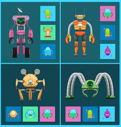 robot set of creatures types vector image