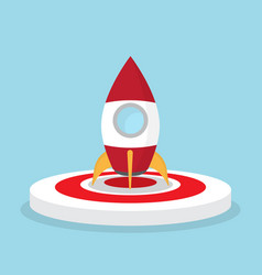 rocket on dart board startup concept vector image