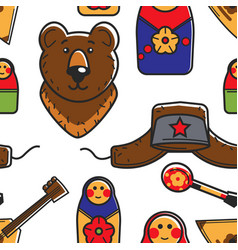russian symbols traveling and tourism seamless vector image