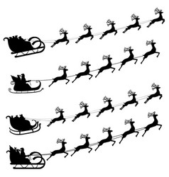 Santa claus flies with gifts on a sleigh in a vector