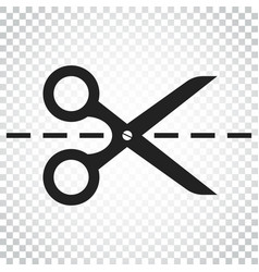 Scissors icon with cut line scissor simple vector
